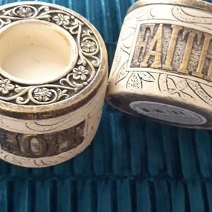 Hope & Faith candle holders nwot